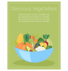 delicious vegetables in bowl for salad organic and vector image