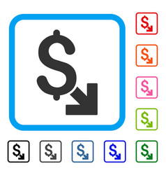 Dollar decrease framed icon vector