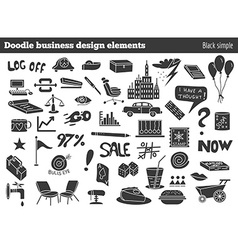 Doodle business design elements vector image