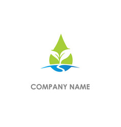 Droplet pure green leaf eco logo vector