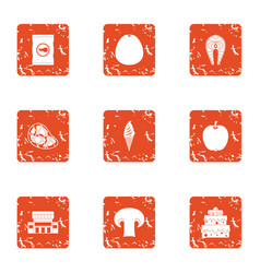 Elite food icons set grunge style vector