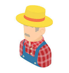 farmer man icon isometric 3d style vector image