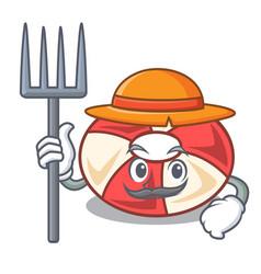 Farmer swim tube character cartoon vector
