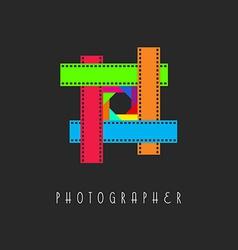 frame film logo colored lens aperture vector image