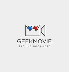 Geek movie video entertainment simple line logo vector