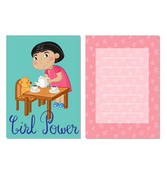 Girl power kids postcard template set vector