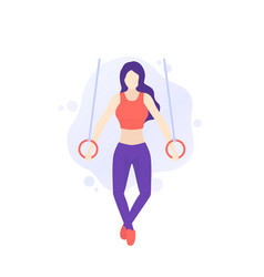 Girl training with gymnastic rings workout in gym vector