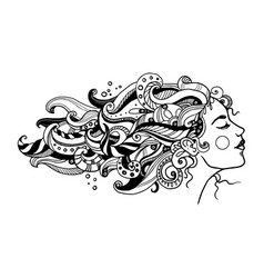 girl with abstract hair coloring book vector image