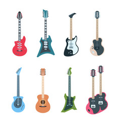 guitar set flat electric and acoustic string vector image