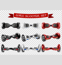 Gyro scooter view set transparent background vector