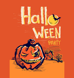 Halloween party poster with pumpkin and night vector