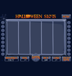halloween style casino slot machine game complete vector image