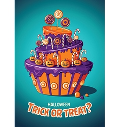 Halloween vintage poster trick or treat cake vector