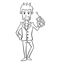 Hand draw businessman with phone vector