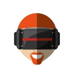 Hispter man virtual reality glasses technology new vector