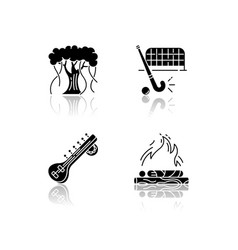 Indian culture drop shadow black glyph icons set vector