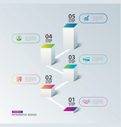 infographics box square with 5 data timeline vector image