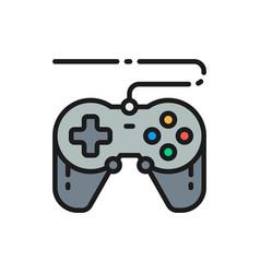 Joystick gamepad gaming device flat color line vector