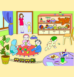 kindergarten coloring book for children cartoon vector image
