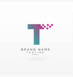 Letter t logo concept design with particles vector
