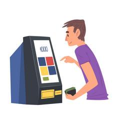 Man using modern electronic self service terminal vector