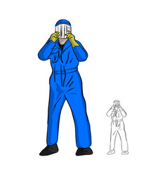 Mechanic man in jumpsuit wearing plastic mask vector