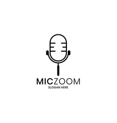 Microphone and magnifying tool concept logo vector