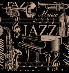 musical seamless background of jazz theme vector image