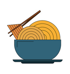 Noodle on dish vector