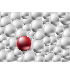 one red ball standing among the crowd of silver vector image