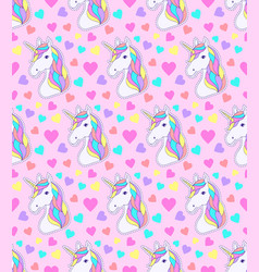 Pattern with colorful unicorn vector