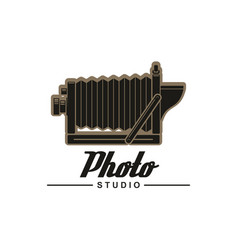 photo studio symbol retro folding camera vector image