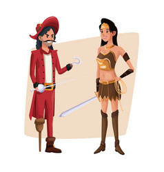 poster with couple pirate man and indian warrior vector image