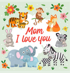 Poster with cute animals mother and baby vector