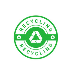 Recycling green circle badge with mobius strip vector