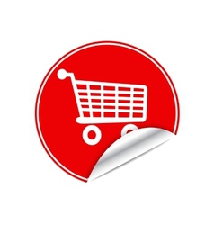 Red sticker trolley vector
