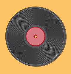 retro vinyl disk black red center and radially vector image
