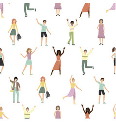 seamless pattern with happy people flat vector image