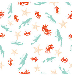 seamless sea pattern 2 vector image