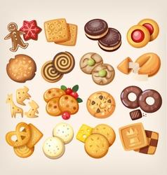 set delicious cookies vector image