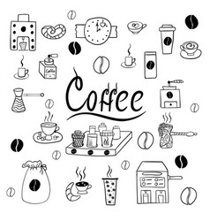 set of coffee accessories doodle vector image
