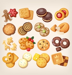 Set of delicious cookies vector