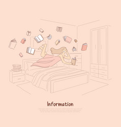 Smiling girl reading enthusiastically happy vector