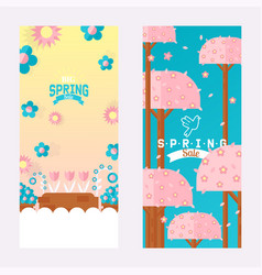 spring sale vertical banner with flowers and trees vector image