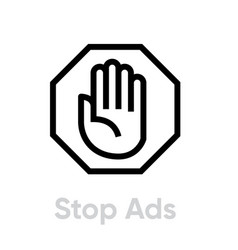 Stop ads blocking icon editable line vector