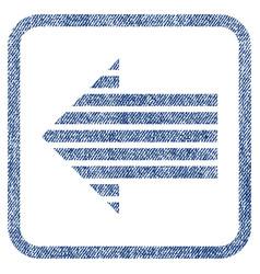 Stripe arrow left fabric textured icon vector