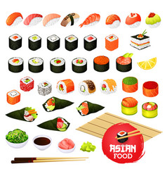 Sushi and rolls gunkan temaki and inari ikura vector