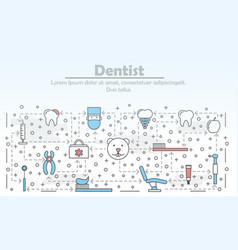 thin line dentist poster banner template vector image