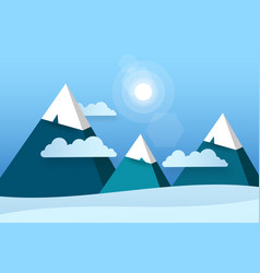 three paper mountains in white clouds sunny day vector image