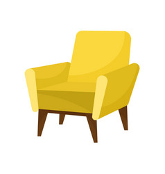 trendy yellow armchair with wooden legs vector image